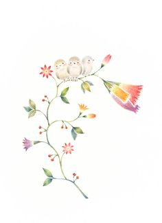 """Little Three Birds on Flowers"" −RiLi, picture book, illustration, design ___ ""三匹の小鳥と草花"" −リリ, 絵本, イラスト, デザイン ...... #bird  #flower #鳥 #花"