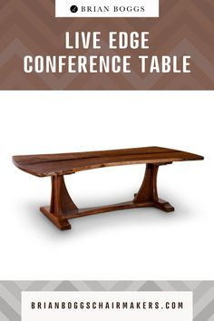 This artful interpretation of the classic conference table impresses both clients and colleagues. Using a solid slab of walnut as the top, the refined base tames the wild edge making this table suitable for any professional office. #table #furniture #home #homedecor #decor #halltable #brianboggs #crafts #craftsman