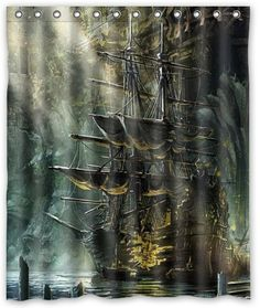 "Nautical Vintage Sailing Pirate Ship Stylish Living Bathroom Shower Curtain (60"" x 72"" )"