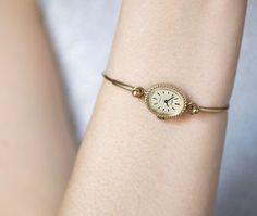 Gold plated women's wristwatch tiny bracelet watch by SovietEra