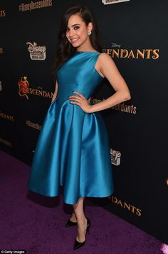 Showing off her fashion credentials: Actress Sofia Carson looked lovely in blue as she hit...