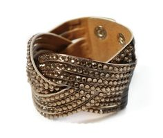 BRONZE BRAIDED CUFF WITH RHINESTONES