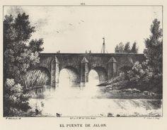 Grabado. Vista del puente sobre el Jalón (1833). Grabato. Ambiesta  d´o puen sopre lo Xalón (1833)