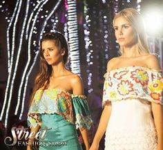 Off shoulders dresses with pajita embroidery designs.