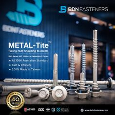 BDN Fasteners® manufactures Australian AS3566 Standard self-drilling metal screws in different drive styles, lengths and sizes. ★ Fast and Stable Drilling Performance ★ Stringent, In-house Quality Control ★ 100% Weather Sealed BN3 Series: SST 1000hrs + Kesternich 7 Cycles 👍 40 Years Warranty 👍 SGS Certified 👍 100% Made In Taiwan Steel Trusses, Roof Trusses, Roofing Screws, Roof Cladding, Thermal Expansion, Steel Sheet, Fasteners, 40 Years