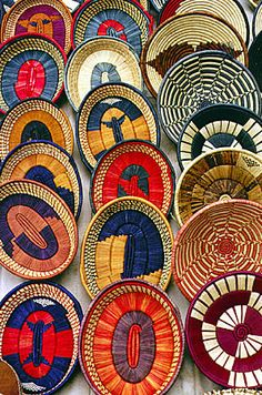 Colorful woven baskets at a crafts market in Nairobi suburbs. Kenya..Basketry Art#Basketry Art #Basketry #Basket #Art #Craft#weave