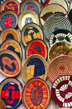 Colorful woven baskets at a crafts market in Nairobi suburbs. Kenya.