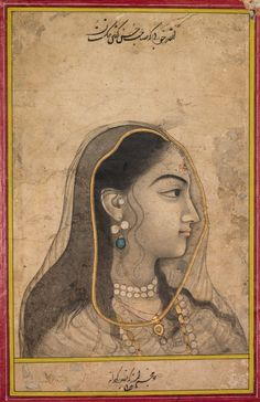 """""""Head of a Beauty"""" (ca. 1750). India, Mughal School. Ink, Color, Gold on Paper. Edward L. Whittemore Fund."""