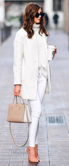 trendy white outfit idea