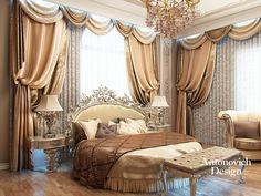 Дизайн спальни с круглой кроватью. Спальня с круглой кроватью, выполнена в оттенках какао со сливками. Здесь, среди стен, отделанных мрамором и позолотой возвышается круглая кровать с резным изголовьем. Два окна заливают эту спальню светом, подчёркивая красоту оттенков роскошных тканей.
