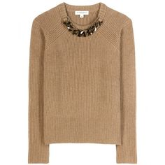 Burberry London Embellished Wool and Cashmere Sweater (7.260 ARS) ❤ liked on Polyvore featuring tops, sweaters, beige, beige top, burberry sweater, embellished tops, wool sweater and burberry