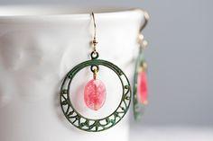 Vacation - Pink Gemstone Hoop Earrings Patina Filigree Hoop Christmas Rose Drop Earrings Verdigris Dangle Earrings Patina Jewelry - E120. $23.00, via Etsy.