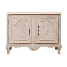 French Highly Detailed Carved Wood Cabinet with Marble Top in Soft Cream Color