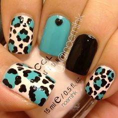 Leopard Print. Used I Need A Refresh-mint by Wet N Wild, Easy Going by Sinful Colors, and Black Out by Pure Ice.