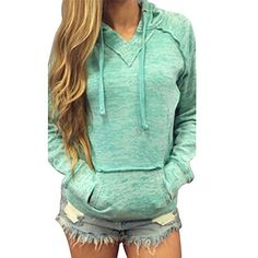 Casual Womens Pullover Jumper Hoodie Long Sleeve Hooded Outwear Sweatshirt Tops in Clothing, Shoes & Accessories, Women's Clothing, Tops & Blouses Streetwear, Outlet Clothing, Blue Long Sleeve Tops, Sports Hoodies, Popular Outfits, Pullover, Hoody, Coats For Women, Mantel