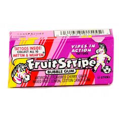 Notorious for a strong but short lived flavor, the new version of this gums flavor does last a bit longer than what we remember. Fruit Stripe still has the zebra striped package and individual sticks