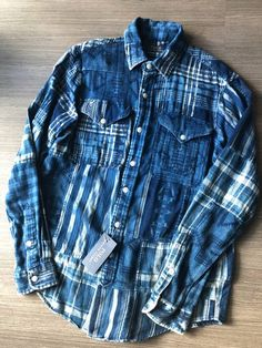 19a968558646 FINAL DROP  Indigo Patchwork Boro Navajo Flannel Button Up Shirt Like  Kapital   Blue Blue Japan