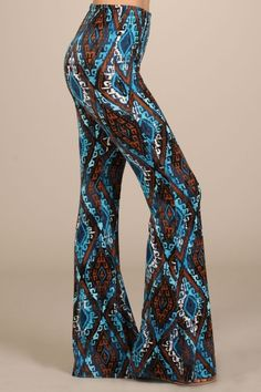 Tribal, Bohemian Print High Rise Bell Bottom Pants http://www.octane-apparel.com/tribal-bohemian-print-high-rise-bell-bottom-pants/