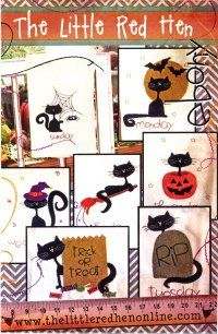 "Cute applique Halloween cats - ""Ebony"" offers hand embroidered details."