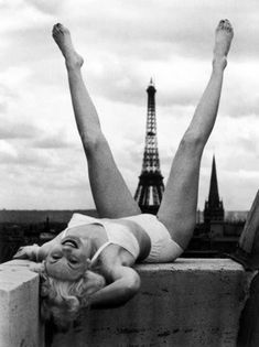Betty Bjurstrom, a Swedish model and actress, whose 1947 photo by Christer Stromholm is sometimes mistaken as Marilyn. However, Betty is missing Marilyn's distinctive widow's peak and she never visited Paris. NOT Marilyn Monroe.