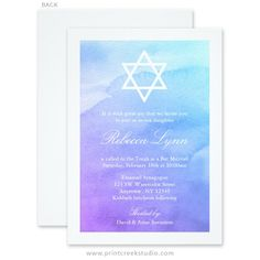 Elegant purple and teal blue watercolor Bat Mitzvah invitations. Matching products available.