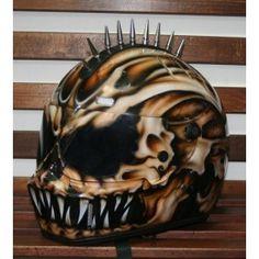 Spiked Airbrushed Helmet -  custom airbrush paint, race, racing, drifting, motorcycle helmet. www.ridersdna.com, MBK Bangkok, Thailand