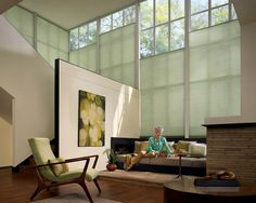Love the mid-century armchair and I like the blinds - bottom-up!