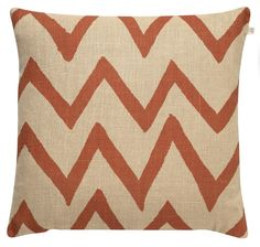 Zig Zag Big Orange - Khaki Linen Cushion (50 x 50): This khaki and orange linen cushion is designed in Sweden. Contemporary design, traditional techniques merge to create the best cushion collection.