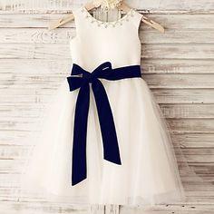 Princess Ivory Beaded Knee-length Flower Girl Dress - Tulle Sleeveless – USD $ 59.99