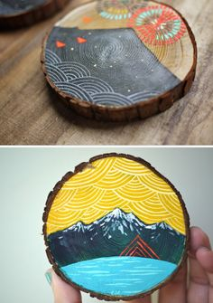 Mini paintings on cedar by Cathy McMurray