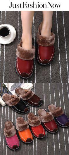 bbde56e55d2d Winter PU Leather Waterproof Warm Slipper  12.70. Mules ShoesShoes UkWomen s  ...