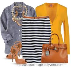 navy/white striped skirt, chambray long sleeved shirt, mustard cardigan, camel belt/tote/heel, pearl/gold necklaces