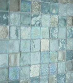 sea glass tile back splash. sea glass tile back splash. Small Shower Baths, Small Showers, Beach Bathrooms, Hall Bathroom, Master Bathroom, Glass Bathroom, Bathroom Ideas, Mermaid Bathroom, Bathroom Spa