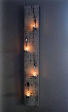 Who Knew!? Old board, mismatched thrift store spoons, & tea lights - Great Wall Art!!!!