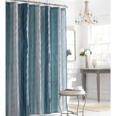 Manor Hill® Sierra Shower Curtain in Blue - BedBathandBeyond.com
