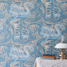 Mark Hearld's 'Compton Verney' wallpaper for St Jude's, based on an original linocut print