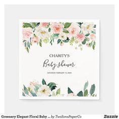 Greenery Elegant Floral Baby Shower Napkins Baby Shower Napkins, Floral Baby Shower, Hand Drawn Flowers, Baby Shower Gender Reveal, Cocktail Napkins, Hand Painted, Painted Roses, Greenery, Place Card Holders