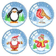 Snow Globe Characters Cross Stitch Pattern | Lucie Heaton Cross Stitch Designs