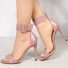 Pink Open Toe Stiletto Heels Patent Leather Ankle Strap Sandals for Work, Date, Anniversary, Going out, Honeymoon Stilettos, Pumps Heels, Stiletto Heels, High Heels, Ankle Heels, Ankle Straps, Ankle Strap Sandals, Studded Heels, Kinds Of Shoes