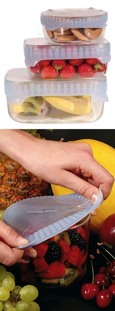 Silicone food cover // stretchy and reusable, better than plastic cling wrap #product_design