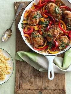 Crispy Chicken Thighs with Peppers and Salsa Verde