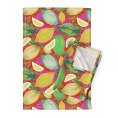 LEMON ZEST RED FUCHSIA PSMGE on Orpington by paysmage | Roostery Home Decor Tea Towels, Color Splash, Spoonflower, Cotton Canvas, Craft Projects, Lemon, Fabrics, Colorful, Wall Art
