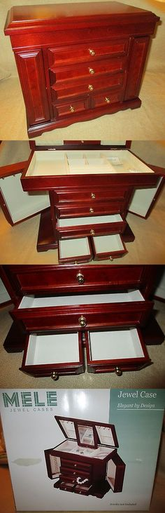 Jewelry Boxes 3820: Mele Large Jewel Case Jewelry Box 5 Drawer Swivel Doors Wood Mahogony In Box -> BUY IT NOW ONLY: $119.95 on eBay!