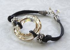 Black Leather Crystal Bracelet Crystal by AdornmentsByEloise