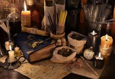 Mystic still life with healing herbs, burning candles, alchemist parchments and magic books. There is no foreign text in the image, all symbols Santeria Spells, Positive Energie, Fable, Spell Caster, Witch Aesthetic, Magic Book, Love Spells, Magic Spells, Healing Herbs