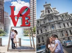 Knot Just Any Day | Wedding Photography | Philadelphia Museum of Art | downtown Philly/Love Park | Engagement Photo | couple hugging under love sign | couple kisses in downtown philly