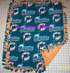Miami Dolphins Hand Tied Fleece Baby Pet by Scrunchiesbysherry, $20.00