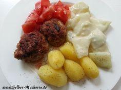 Selber-Macherin: Frikadellen mit Rahmkohlrabi, Kartoffeln und Tomatensalat  Hallo ihr,  heute mal ein ganz bodenständiges Rezept. Ja, ich kann auch klassisch! ;-) Wem's gefällt darf den Link natürlich gerne teilen!  #selbermachen #Rezept #Frikadellen #Kohlrabi #Kartoffeln #Hausmannskost #kochen