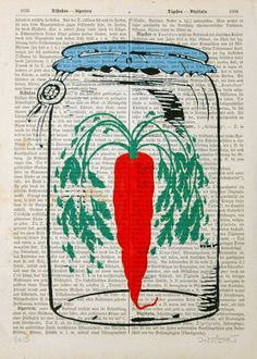 CARROT print poster mixed media painting illustration by artretro, $12.00