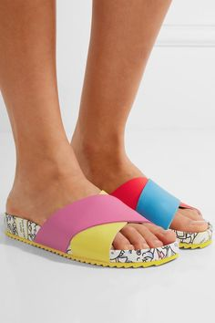 Heel measures approximately 20mm/ 1 inch Multicolored textured-leather  Slip on Imported